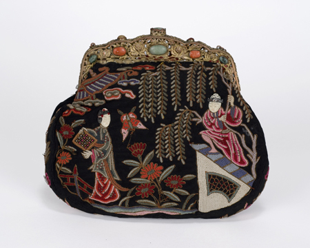 Exquisite Chinese stitch purse depicting a garden scene with ivory faced figural on a coral and jade frame, early 1900s