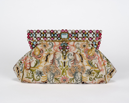 One of a kind Hobé pastel faceted stone frame on original hand beaded paisley purse, 1940s