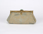 Early 1920s brass and jade frame with pale green silk moire purse